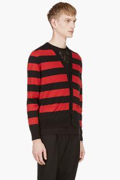 SAINT LAURENT Red & Black Striped Y-Front Cardigan