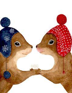 Watercolor squirrels , Woodland nursery, Animal Paintings, Fox, Bear, Deer, fawn, watercolor animal, woodland, kids posters, Squirrel by zuhalkanar on Etsy https://www.etsy.com/listing/260182283/watercolor-squirrels-woodland-nursery