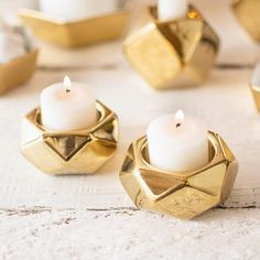 Geometric Candle Holder, Tea Lights and Votives, 1.25 in, Gold, 2 Pack