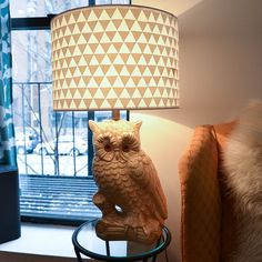 Awesome owl lamp, with a refined simple DIY lamp shade from Stars for Streetlights For more DIY lamp tutorials and supplies, visit www.ilikethatlamp.com