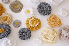many ideas for making fabric flowers