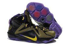 Brand Nike Air Zoom LeBron 12 Black Yellow and Purple Mens Sport