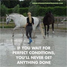 I you wait for the perfect conditions, you'll never get anything done!