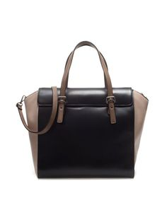 Buckled Black & Beige Leather Tote