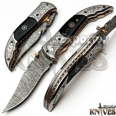 Andy Alm New Custom Made USA Damascus Steel Folding Knife, Horn Handle F-129 #AndyAlm