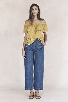 Spring Outfit Idea: A Bohemian Off the Shoulder Top, With a Flattering Pair of Trouser Jeans // Exclusive: Explore Madewell's Complete Spring 2016 Collection: (http://www.racked.com/2015/10/28/9621690/madewell-spring-2016-lookbook#4865415)