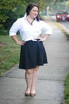 tied up classic white button front, black skirt