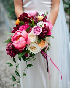 Burgundy, ivory and pink dahlias, ranunculus and peonies ~ we ❤ this! moncheribridals.com
