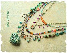 Collar Bohemia, Boho gitana Hippie colorido collar, múltiples capas collar, conjunto, Boho estilo Me
