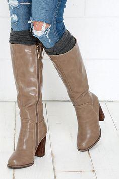 Taupe Knee High Heel Boots