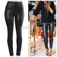 "Black faux leather leggings high waist Fleece Sexy Sexy Vegan Faux leather leggings. Perfect fit  High waist Medium weight Inside is soft and Light Fleece fabric.. These are Very Stretchy Fabric Content : 65% Polyester + 35% Cotton Measurements laying flat Unstretched to stretched (Inseam = 27-28"") (Total Length= 38-39"") (Front Rise = 12"") (Back Rise =14"") (Small Waist =11-13"") (Medium Waist =12-14"") (LargeWaist =13-15"") (XL Waist =14- 16 "" ). Available in 4 colors( black, wine, gray and…"