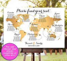 Wedding Seating Chart - RUSH SERVICE - Gold World Map Plane Travel Theme…