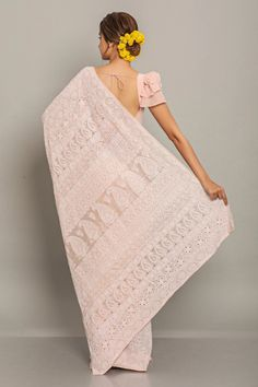 Pink Chikankari Saree Gorgeous Pink All Over Chikankari Saree. Comes with a matching blouse piece. Saree Jacket Designs, Sari Blouse Designs, Indian Dresses, Indian Outfits, White Saree Blouse, Bridesmaid Saree, Saree Jackets, Indiana, Wedding Saree Collection