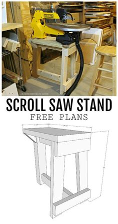 A DIY tutorial to build a scroll saw stand including free plans. How I set up my scroll saw station on a DIY stand including a little dust collection. wood projects projects diy projects for beginners projects ideas projects plans Easy Woodworking Projects, Popular Woodworking, Woodworking Jigs, Woodworking Furniture, Woodworking Patterns, Woodworking Classes, Woodworking Techniques, Woodworking Workshop, Amish Furniture