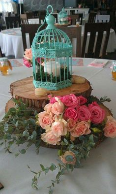Turquoise cages and flowers