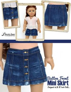 Liberty Jane Button Front Mini Skirt Doll Clothes Pattern 18 inch American Girl Dolls | Pixie Faire