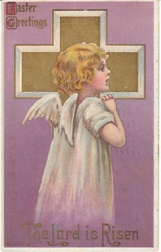 1912 vintage Easter postcard - little angel girl and a gold cross.