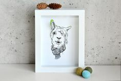 Llama in a Scarf Handcut 3D art print in by whistleandwork on Etsy,