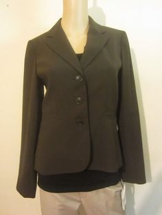 Ann Taylor Loft Wool Blend Blazer Button Down Long Sleeve Brown Size 2 #117 #AnnTaylorLOFT #Blazer