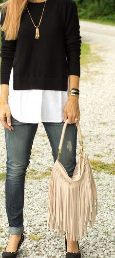 @Nordstrom Black/White Collared Shirt - Vintage necklace - @csgems
