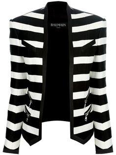 BALMAIN - striped cropped blazer