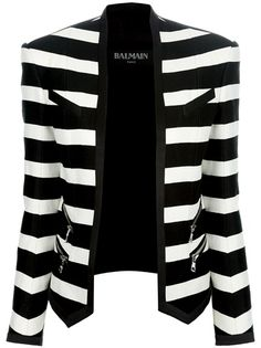 BALMAIN - striped cropped blazer