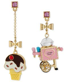 Betsey Johnson Earrings, Gold-Tone Acrylic Glass Cotton Candy Cart and Ice Cream Cone Mismatch Earrings - Fashion Jewelry - Jewelry & Watches - Macy's