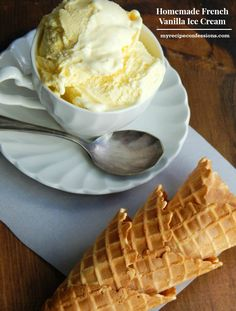 Homemade-French-Vanilla-Ice-Cream is my favorite basic ice cream recipe!It is one of my families favorite desserts! It is so easy to make and is worth the wait as it freezes! You can serve it as a si (Favorite Desserts) Homeade Ice Cream, Easy Ice Cream Recipe, Lemon Ice Cream, Homemade Vanilla, Vanilla Ice Cream, Ice Cream Recipes, Vanilla Pudding Ice Cream Recipe, Ice Cream Treats, Ice Cream Desserts