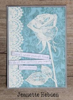 White embossing with Darkroom Door Full Bloom Vol 1 Rubber Stamps. ATC by Jeanette Hebden.
