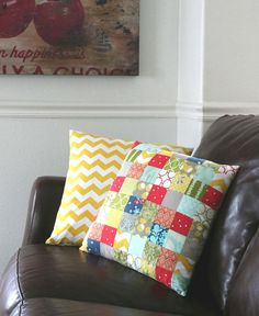 Great way to use scraps of material and get new pillows at the same time.