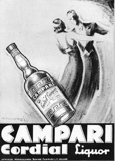PUBBLICITA' 1936 BITTER CORDIAL CAMPARI MUGGIANI BALLO DANZA ELEGANZA