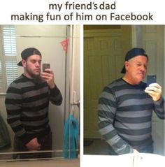 Dad Makes Fun of Son on Facebook. Funny!  I hate when people snap pics of themselves like this, so this hilarious! Parents for the win!