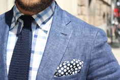 love the knit tie and polka dotted pocket square.