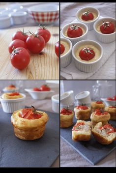 Stuffed Tomato Savory Cakes ~ recipe uses tuna & feta but variations are limitless. sub chicken, changes spices, make it caprese with basil & mozzarella. Tapas, I Love Food, Good Food, Yummy Food, Kreative Snacks, Petit Cake, Great Recipes, Favorite Recipes, Salty Foods