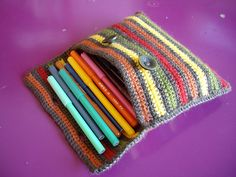 Crochet bag / pencil case.  Try for 4MM and flash drives