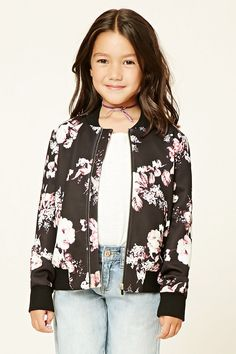 Forever 21 Girls - A knit bomber jacket featuring a rose print, zipper front, long sleeves, front slit pockets, and ribbed trim. Matching skirt available.