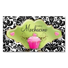 Bakery Business Card Cupcake Gold Swirls Lime Pink $29.95 -- click for sales!!!