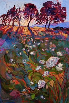 Shadow Bloom - Contemporary Impressionism Art Gallery in San Diego - Modern Landscape Oil Paintings for Sale by Erin Hanson Abstract Landscape, Landscape Paintings, Abstract Art, Oregon Landscape, Oil Paintings, Landscapes, Impressionist Landscape, Indian Paintings, Abstract Paintings