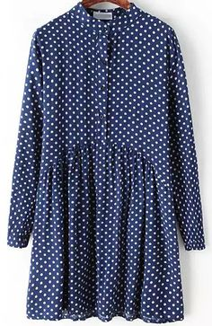 To find out about the Blue Stand Collar Polka Dot Loose Dress at SHEIN, part of our latest Dresses ready to shop online today! Iranian Women Fashion, Muslim Fashion, Blue Dresses, Vintage Dresses, Girl Fashion, Fashion Outfits, Stylish Dresses For Girls, Blue Polka Dots, Long Sleeve Shirt Dress