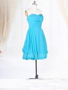 blue short pleating affordable bridesmaid dress   Cheap mini length Sale