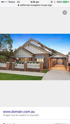 Californian bungalow front of house - fence and car port