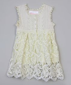 This White Floral-Trim Partial Button Dress - Infant, Toddler & Girls is perfect! #zulilyfinds