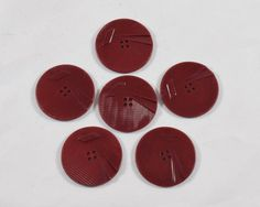 Vintage Lot of 6 Large Art-Deco Burgundy Red Carved Bakelite  / Celluloid  Buttons * 34 mm *** # B-216 by TheTreasureBoxOrna on Etsy