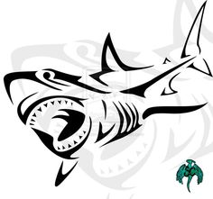 Tribal Shark Tattoo~ mix with another more simple design -Tattoo 4 Me