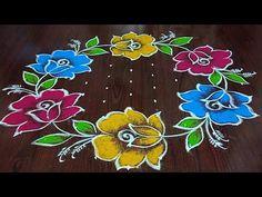 Rangoli Designs Simple Diwali, Simple Flower Rangoli, Rangoli Side Designs, Simple Flower Design, Rangoli Designs Latest, Free Hand Rangoli Design, Small Rangoli Design, Rangoli Designs With Dots, Rangoli With Dots