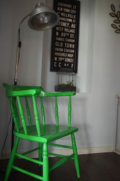 A coat of shiny happy green transforms this old estate sale chair www.ciburbanity.com
