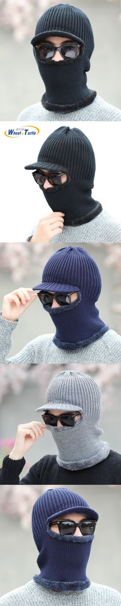 Apparel Accessories Hats Caps Unisex Winter  Skullies Beanies For Men Women Wool Scarf Caps Balaclava Mask Bonnet Knitted Hat