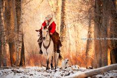 cowboy winter   Cowboy Riding with Calf in WInter, Idaho