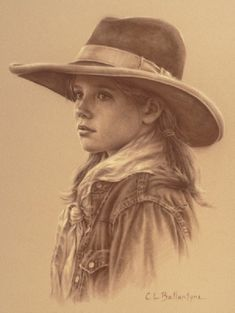 Sage, by Carrie Ballantyne. This is a wonderful pencil sketch of a young western girl. I greatly admire the level of detail portrayed!