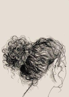 (via hair Art Print by Natalya Lobanova Drawing Sketches, Pencil Drawings, Art Drawings, Sketching, Pen Sketch, People Drawings, Hair Sketch, Drawing People, Drawing Hair